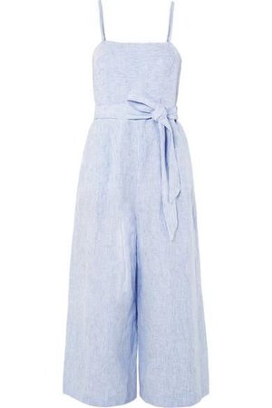 J.CREW Marseille belted striped linen jumpsuit