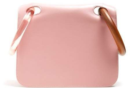 Neneh Wooden Handle Leather Clutch - Womens - Pink Multi