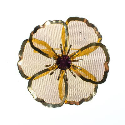 Vintage Mid Century Modern Large Gold Mesh Flower Brooch with Amethyst - Vintage Meet Modern
