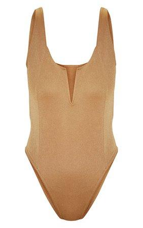 Camel V Cut Sleeveless Bodysuit   Tops   PrettyLittleThing
