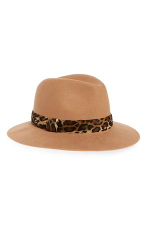 Halogen® Animal Print Trim Wool Felt Panama Hat | Nordstrom