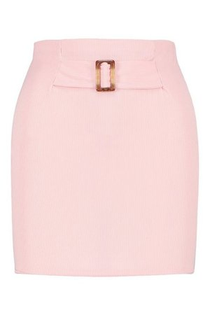 Rib Mini Skirt With Buckle Front | boohoo