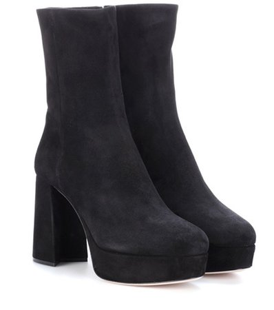 Suede plateau ankle boots
