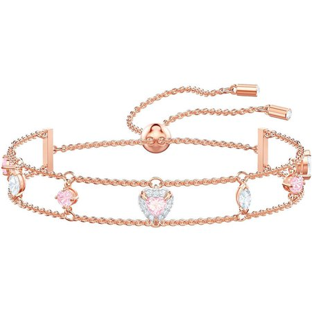 Rose Gold Choker with Blue and Pink Gemstones