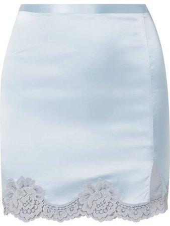 James Lace-trimmed Silk-blend Satin Mini Skirt - Light blue