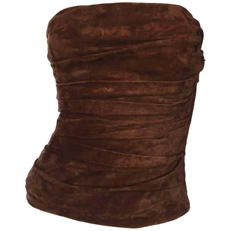 1990s Ralph Lauren Collection Brown Leather Suede Bustier / Vintage Corset Top For Sale at 1stdibs