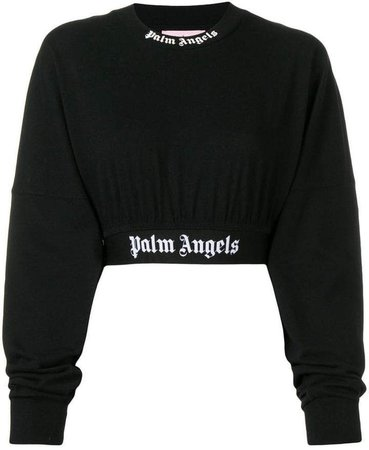 Palm Angels long-sleeve cropped sweatshirt