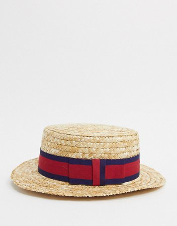ASOS DESIGN straw boater hat with band detail | ASOS
