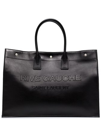 Shop black Saint Laurent large Rive Gauche leather tote bag with Express Delivery - Farfetch