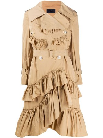 Shop brown Simone Rocha ruffle trim trench coat with Express Delivery - Farfetch