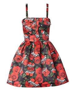 black red floral dress