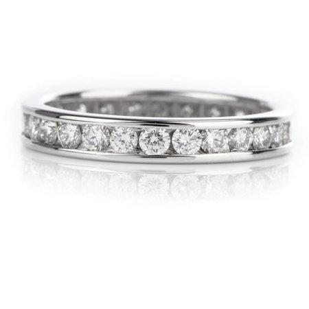 Contemporary Channel set Diamond Eternity Wedding Band 14K