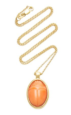 One Of A Kind 18K Gold and Coral Scarab Necklace by Pamela Love | Moda Operandi