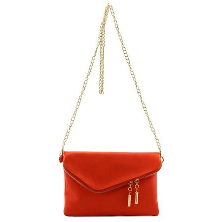 Amy&Joey - Faux Leather Envelope Shape Wristlet Crossbody Clutch Purse with Chain Strap - Walmart.com - Walmart.com