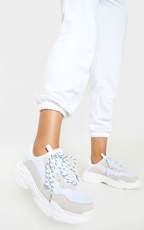 White Lace Up Chunky Trainer   Shoes   PrettyLittleThing