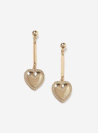 Gold Finish Heart Earrings | Dorothy Perkins
