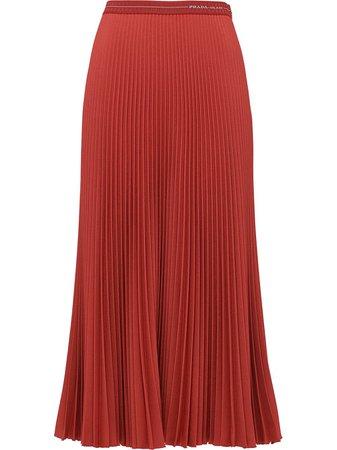 Red Prada pleated high-waist skirt P199NS1821OES - Farfetch