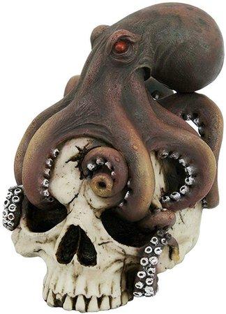 Octopus Wrapped Around Human Skull Figurine Skeleton Pirate Kraken Ocean Sea New: Amazon.ca: Home & Kitchen