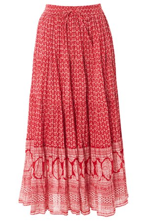 Red Tiered Boho Print Gypsy Skirt