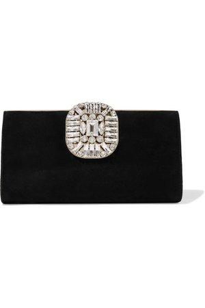 Jimmy Choo | Leonis crystal-embellished suede clutch | NET-A-PORTER.COM