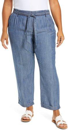 Tie Waist Chambray Crop Pants