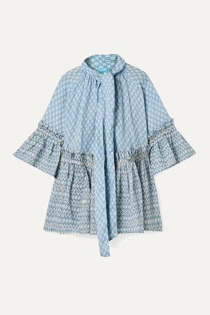 Light blue Angelica ruffled printed linen tunic   Yvonne S   NET-A-PORTER