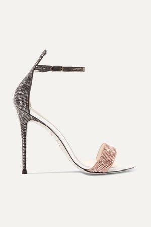 René Caovilla   Crystal-embellished satin and leather sandals   NET-A-PORTER.COM