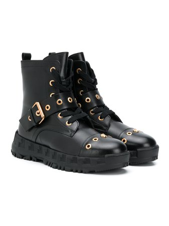Shop black Versace Kids buckle-embellished combat boots with Express Delivery - Farfetch