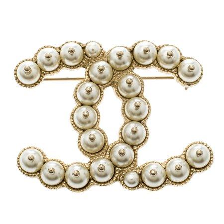 Chanel CC Faux Pearl Gold Tone Pin Brooch Chanel | TLC