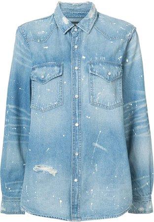western paint denim shirt
