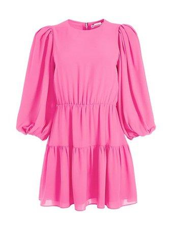 Alice + Olivia Shayla Pleated-Sleeve Tiered Mini Dress | SaksFifthAvenue