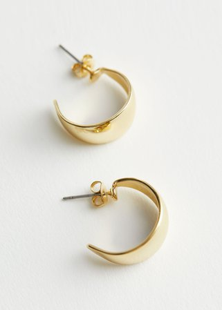 Curved Mini Hoop Earrings - Gold - Hoops - & Other Stories