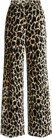 Giambattista Valli Printed Velvet Wide-Leg Pants