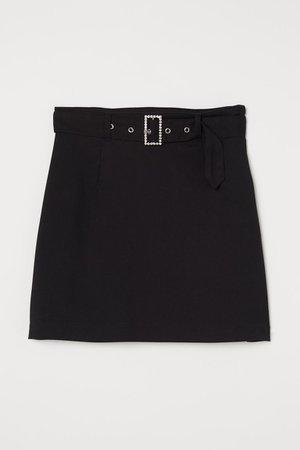 Skirt with Belted - Black - Ladies | H&M US