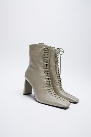 LACE-UP LEATHER HIGH HEEL ANKLE BOOTS | ZARA United Kingdom