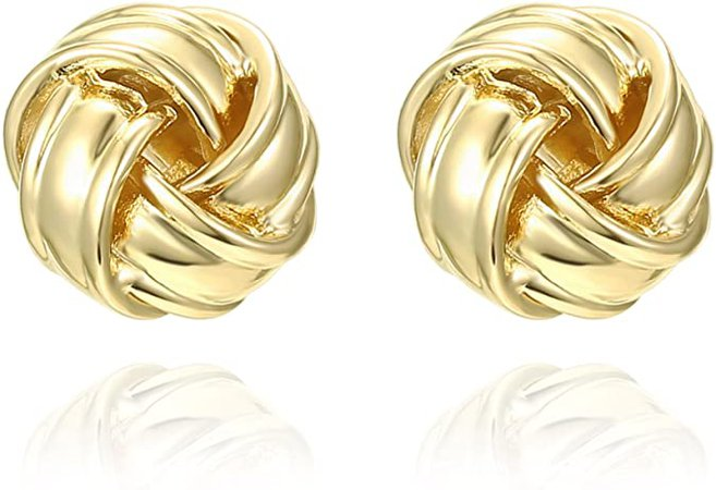 Amazon.com: PAVOI 14K Yellow Gold Plated Sterling Silver Post Love Knot Stud Earrings | Gold Earrings for Women: Clothing