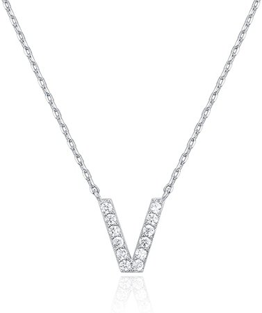 Amazon.com: PAVOI 14K White Gold Plated Cubic Zirconia Initial Necklace | Letter Necklaces for Women | V Initial: Jewelry