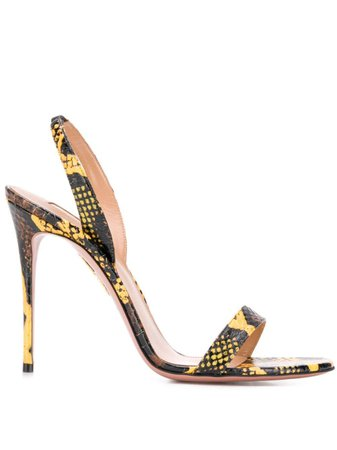 Shop yellow Aquazzura So Nude sandals with Express Delivery - Farfetch