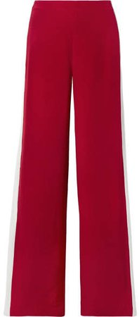Striped Silk-crepe Wide-leg Pants - Red
