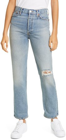 '90s Ripped Loose Straight Leg Jeans
