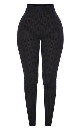 Shape Black High Waist Ribbed Leggings | PrettyLittleThing