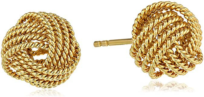 Amazon.com: Amazon Essentials Yellow Gold Plated Sterling Silver Twisted Love Knot Stud Earrings: Clothing