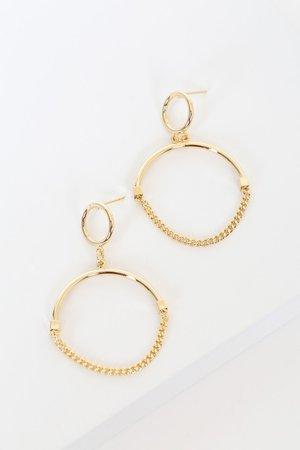 Gold Circle Earrings - Chain Earrings - Statement Earrings - Lulus