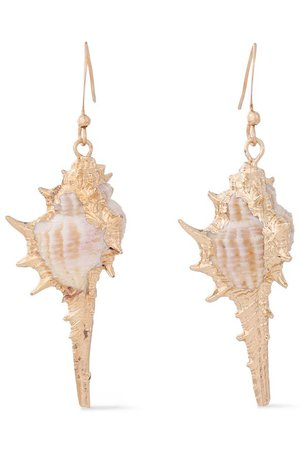 Gold Gold-tone shell earrings | #designer | Sale up to 70% off | THE OUTNET | KENNETH JAY LANE |