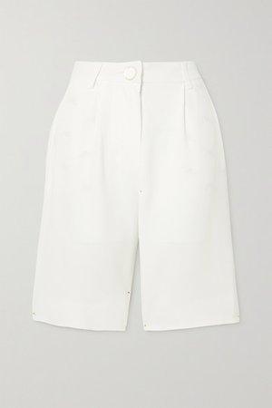 Pleated Crepe Shorts - White