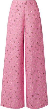 Pamela Printed Linen Wide-leg Pants - Pink
