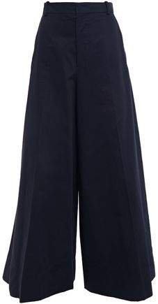 Cotton And Linen-blend Gabardine Wide-leg Pants