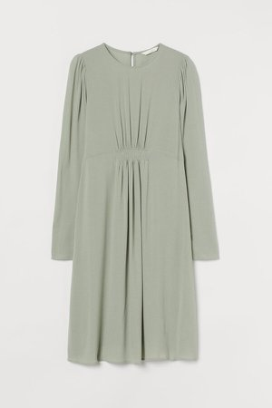 MAMA Puff-sleeved Dress - Green
