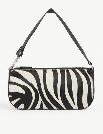 BY FAR - Rachel zebra-print leather shoulder bag   Selfridges.com