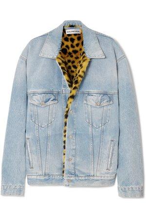 Balenciaga | Oversized leopard-print faux-fur trimmed denim jacket | NET-A-PORTER.COM